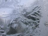 Ice crystals on my car windshield, shot 3.