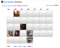 Screenshot of Flickr Calendar