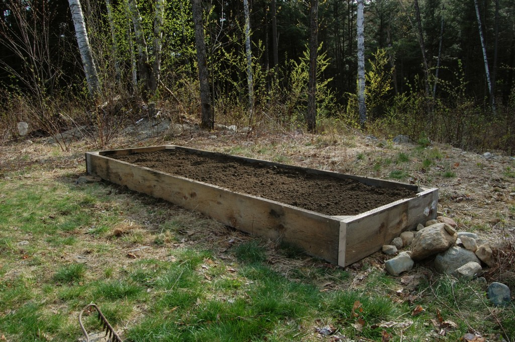 Photo of our raised garden bed filled with soil