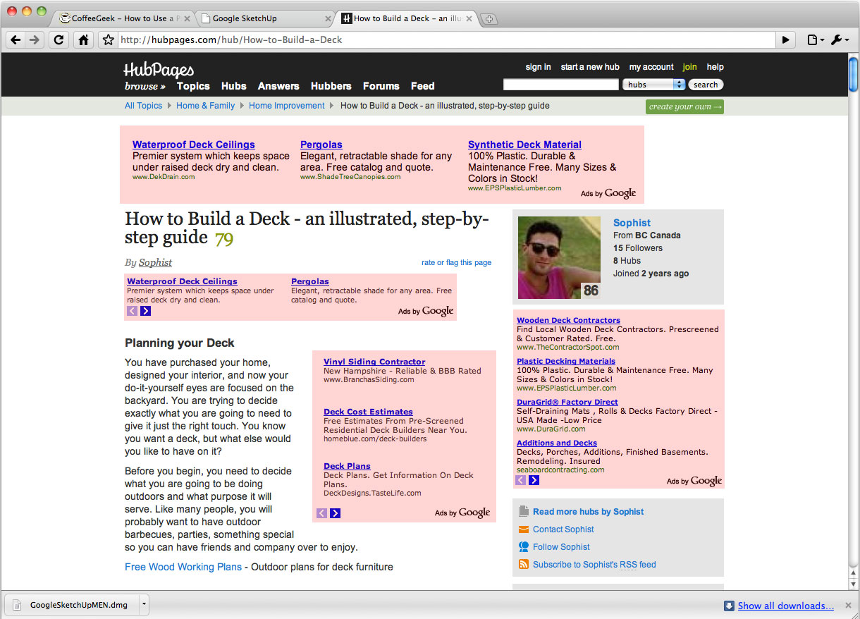 Screenshot of hubpages.com with four separate groups of Google ads