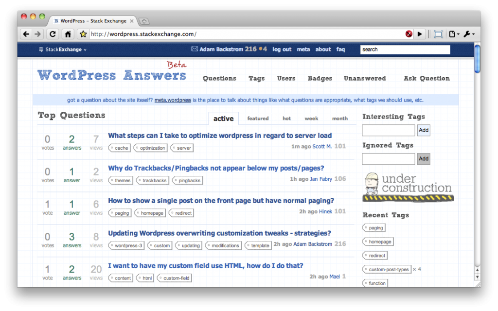 Screenshot of wordpress.stackexchange.com