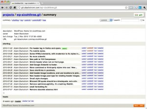 Screenshot of gitweb