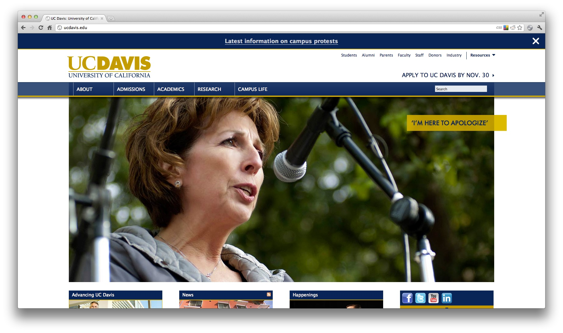 Screenshot of the UC Davis homepage featuring Chancellor Katehi