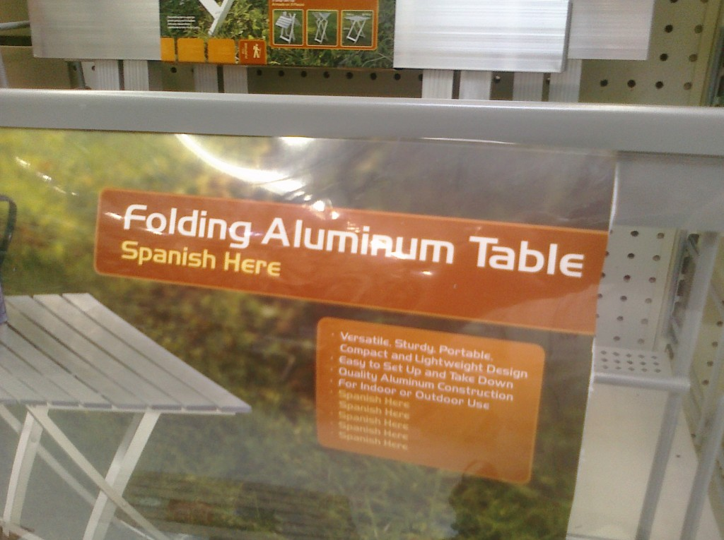 Photo of product signage in a Walmart with missing translations