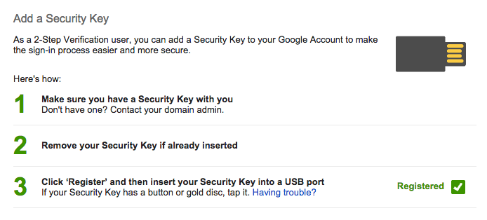 Google Security: Adding a Security Key to your account