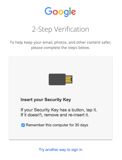 Google Sign In: Insert your security key